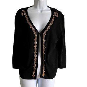 Finity Single Hook Closure Black Cardigan Sweater